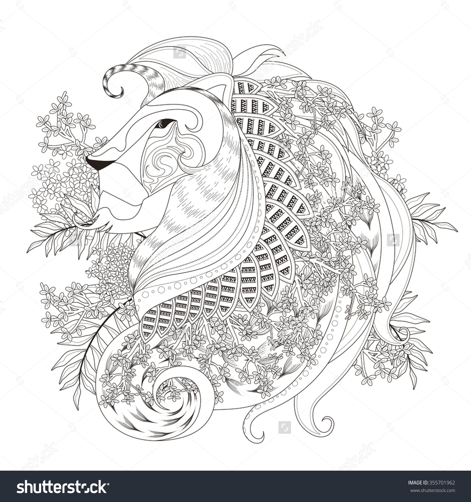 Lion colorings - Attractive Lion Coloring Page With Floral Elements In Exquisite Line