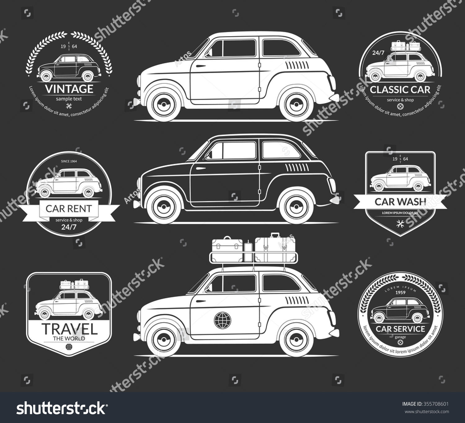 Set Small European Classic Car Silhouettes Stock Vector HD (Royalty ...