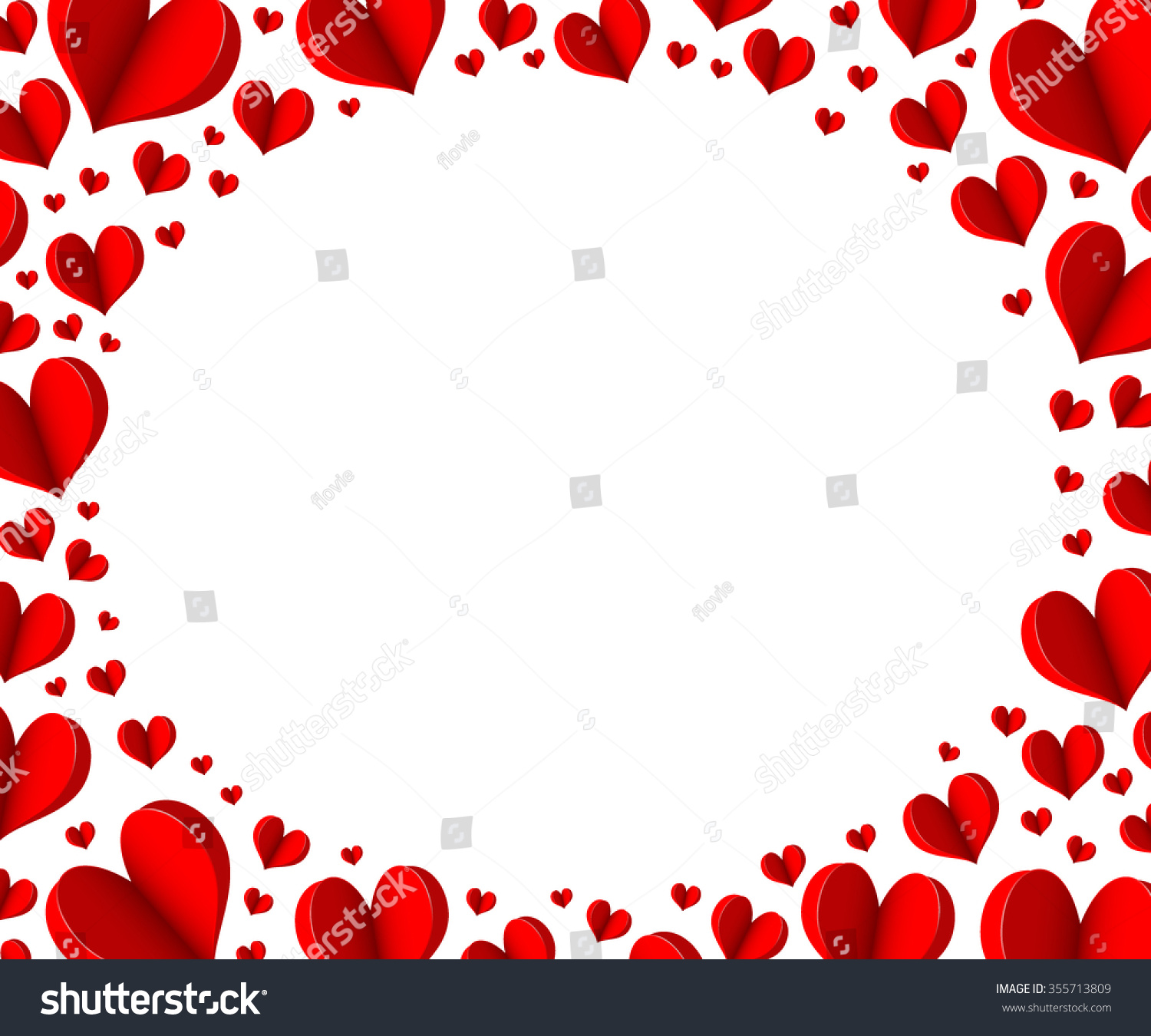 Red Heart Origami Elegant Oval Frame Stock Photo (Photo, Vector ...
