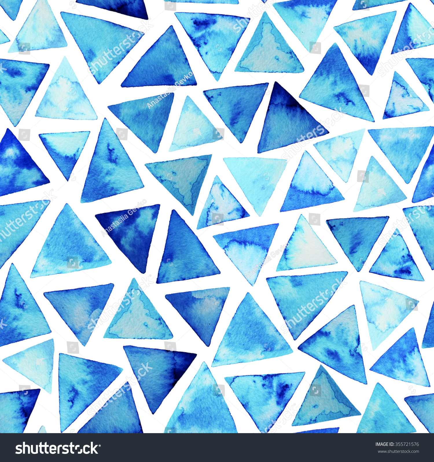 Seamless Pattern Watercolor Triangles Hand Painted Stock