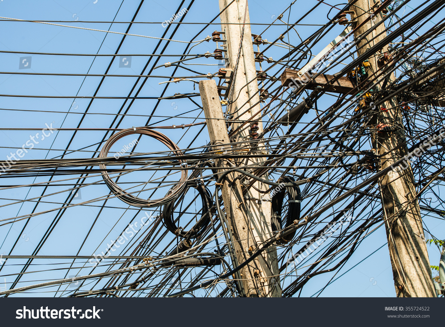Tangled Electrical Wire On Electricity Post Stock Photo 355724522 ...