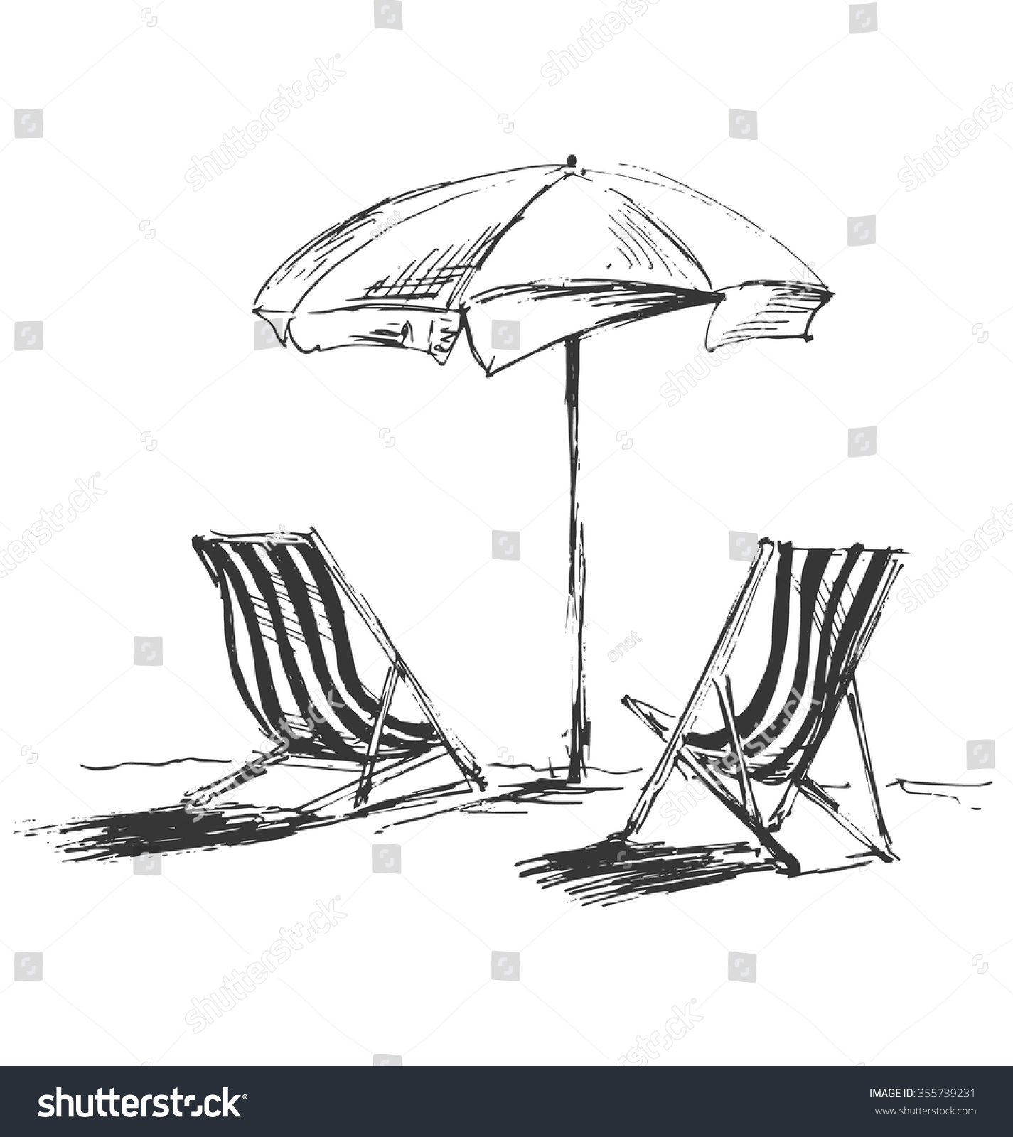 Beach chair and umbrella black and white - Hand Sketch With Beach Chairs And Parasols