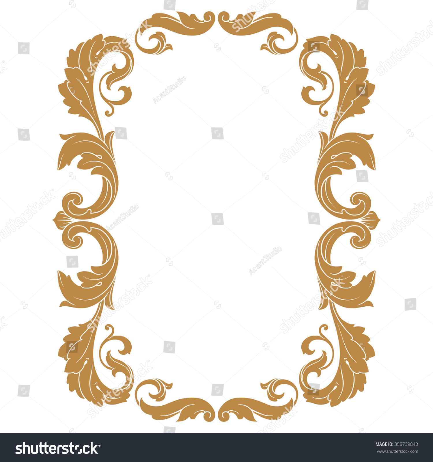 Golden Menu Template With Baroque Style: Premium Gold Vintage Baroque Frame Scroll Stock Vector