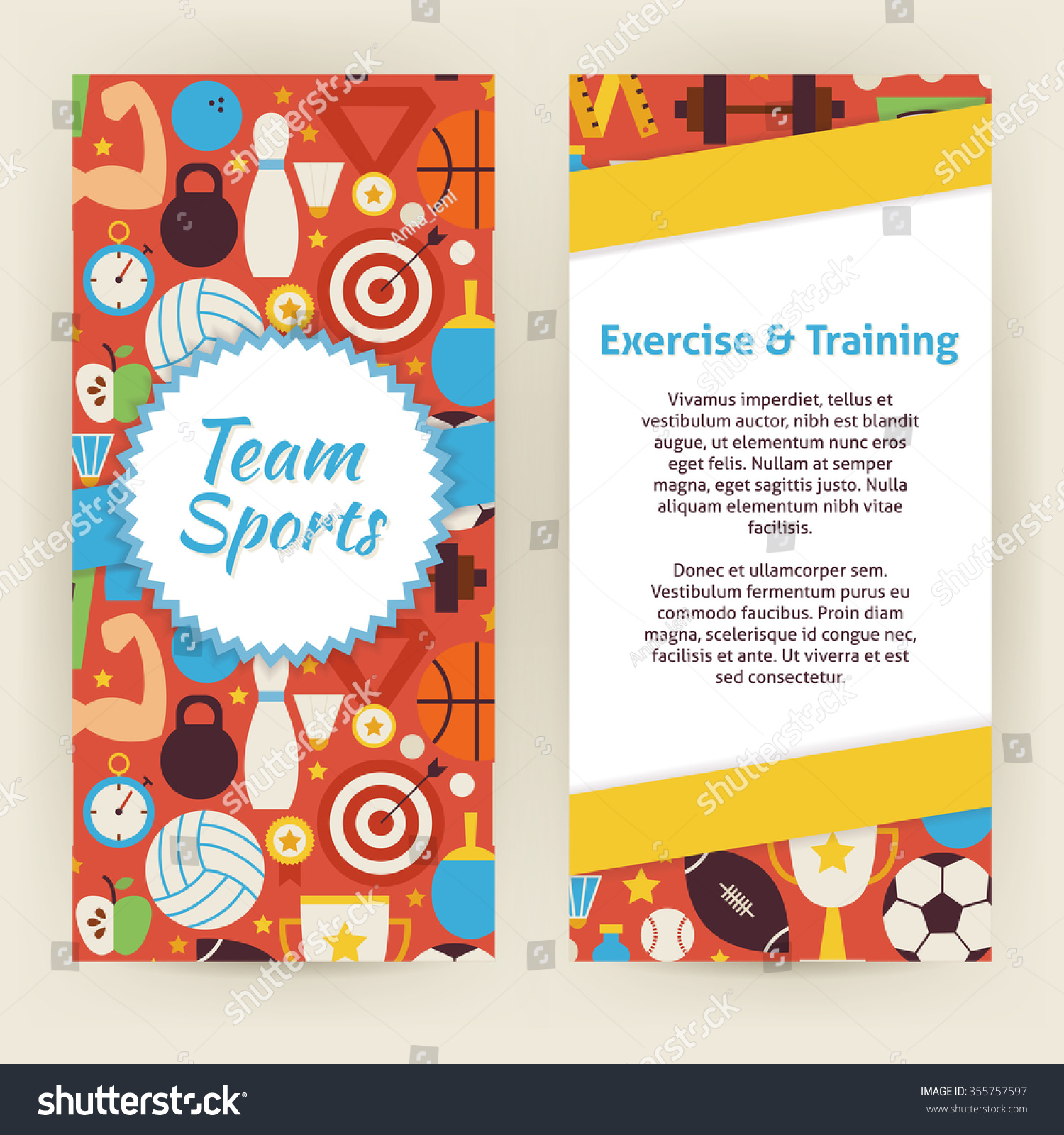 flyer template exercise training sport objects stock vector flyer template of exercise and training sport objects and elements flat style design vector illustration