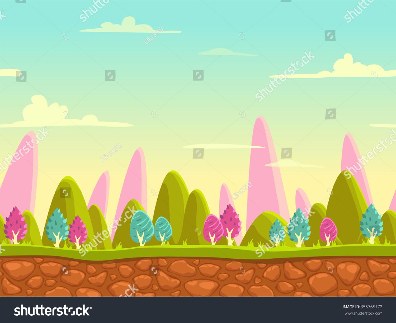 fantasy cartoon landscape seamless nature background stock photo