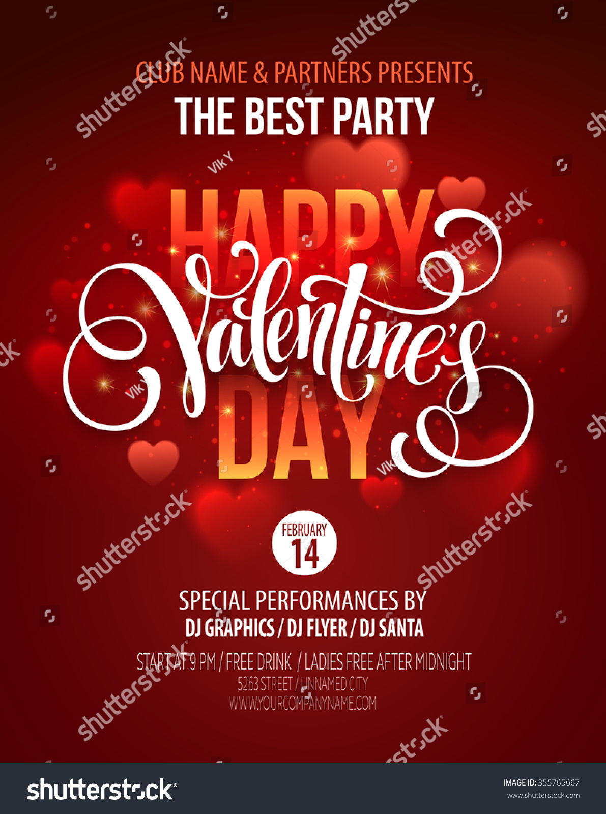 Valentines Day Party Poster Design Template Stock Vector (Royalty ...