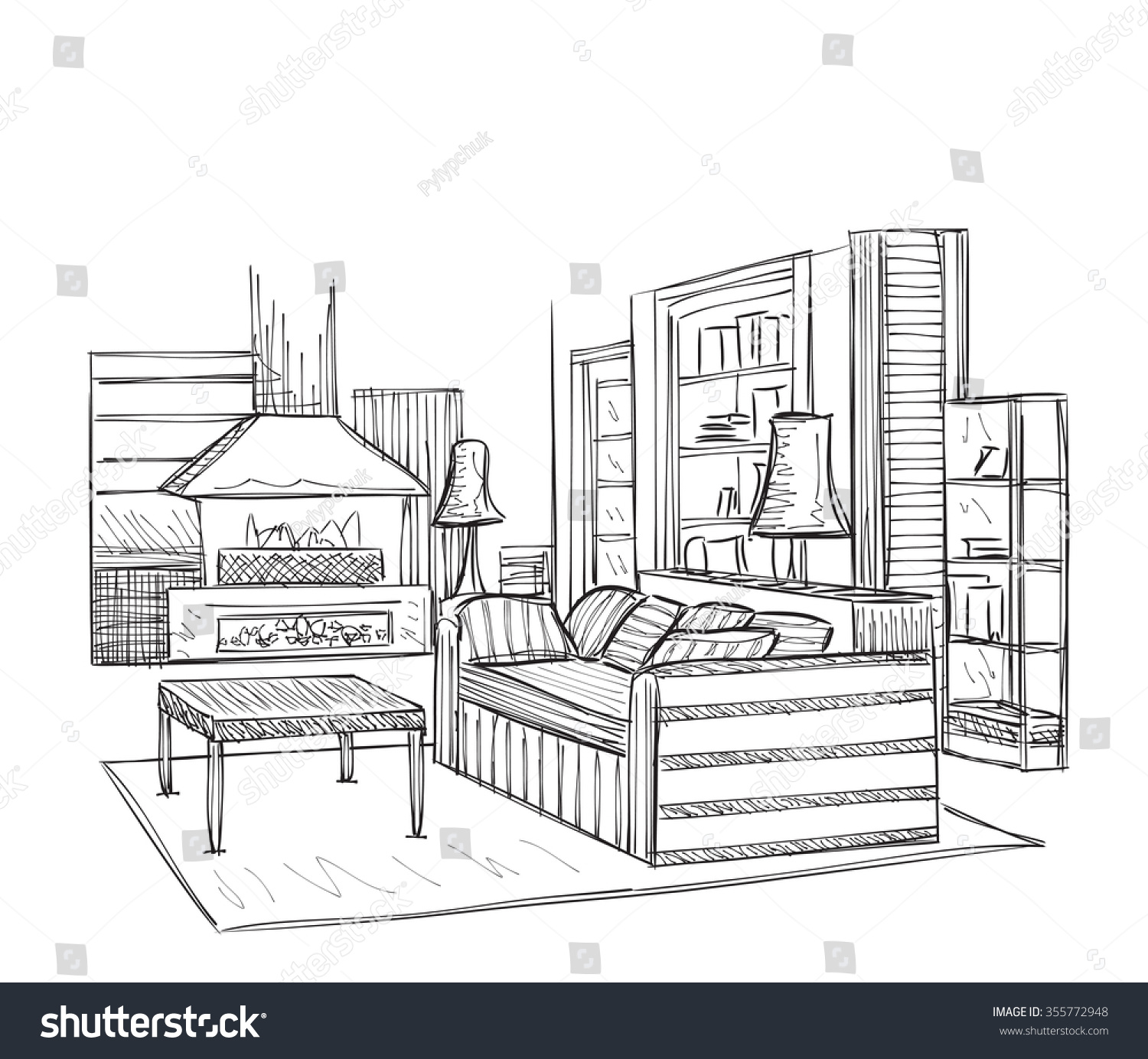 modern interior room sketch hand drawn illustration 355772948