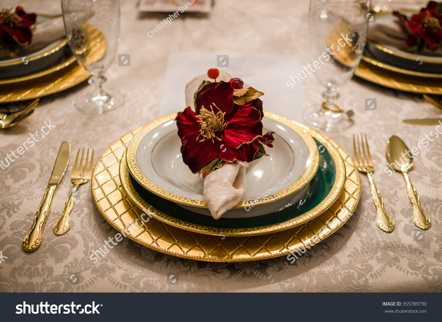 Fancy Dinner Setting Dining Room Table Stock Photo