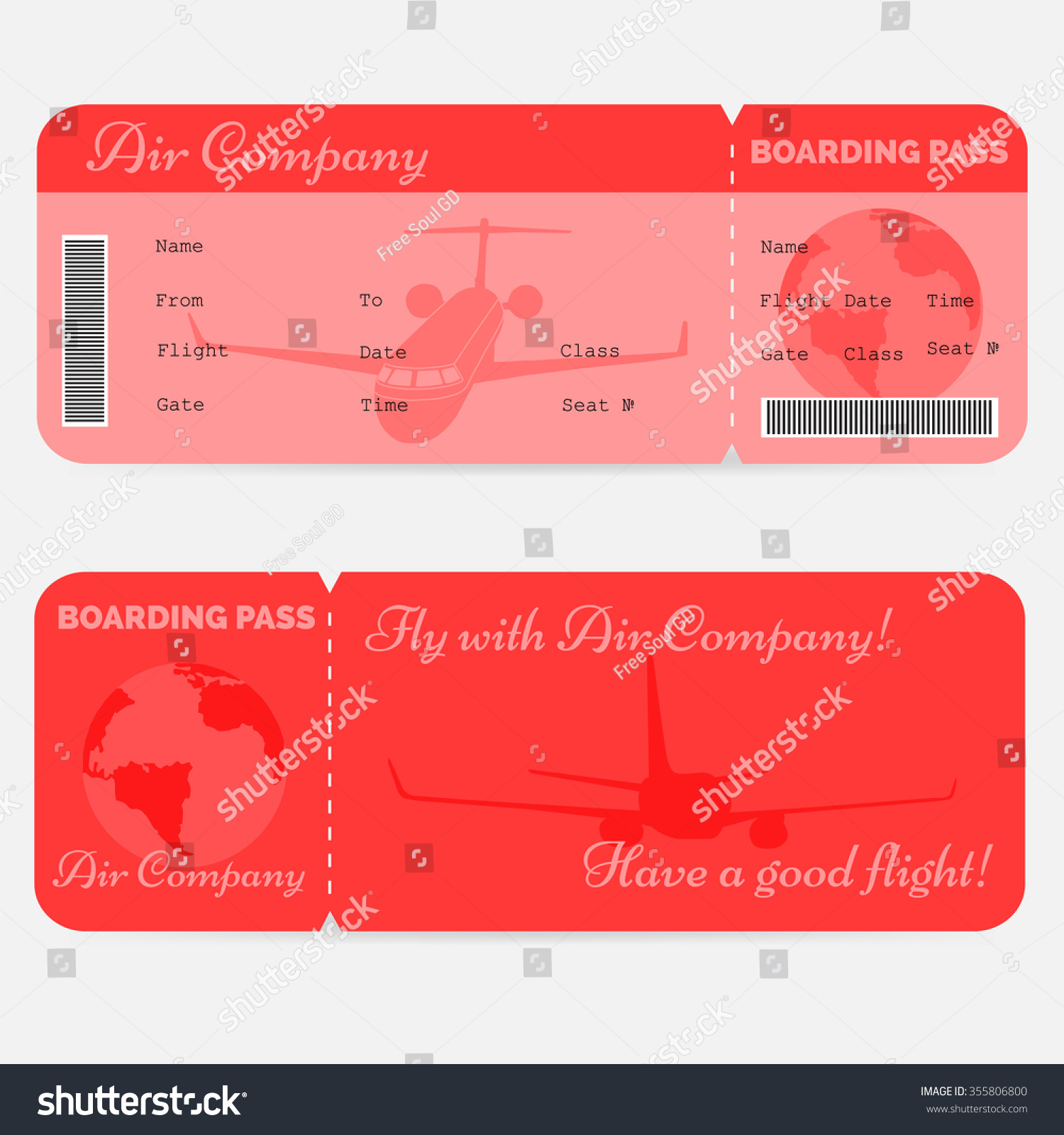 Variant Airline Boarding Pass Red Ticket Stock Vector (Royalty Free ...