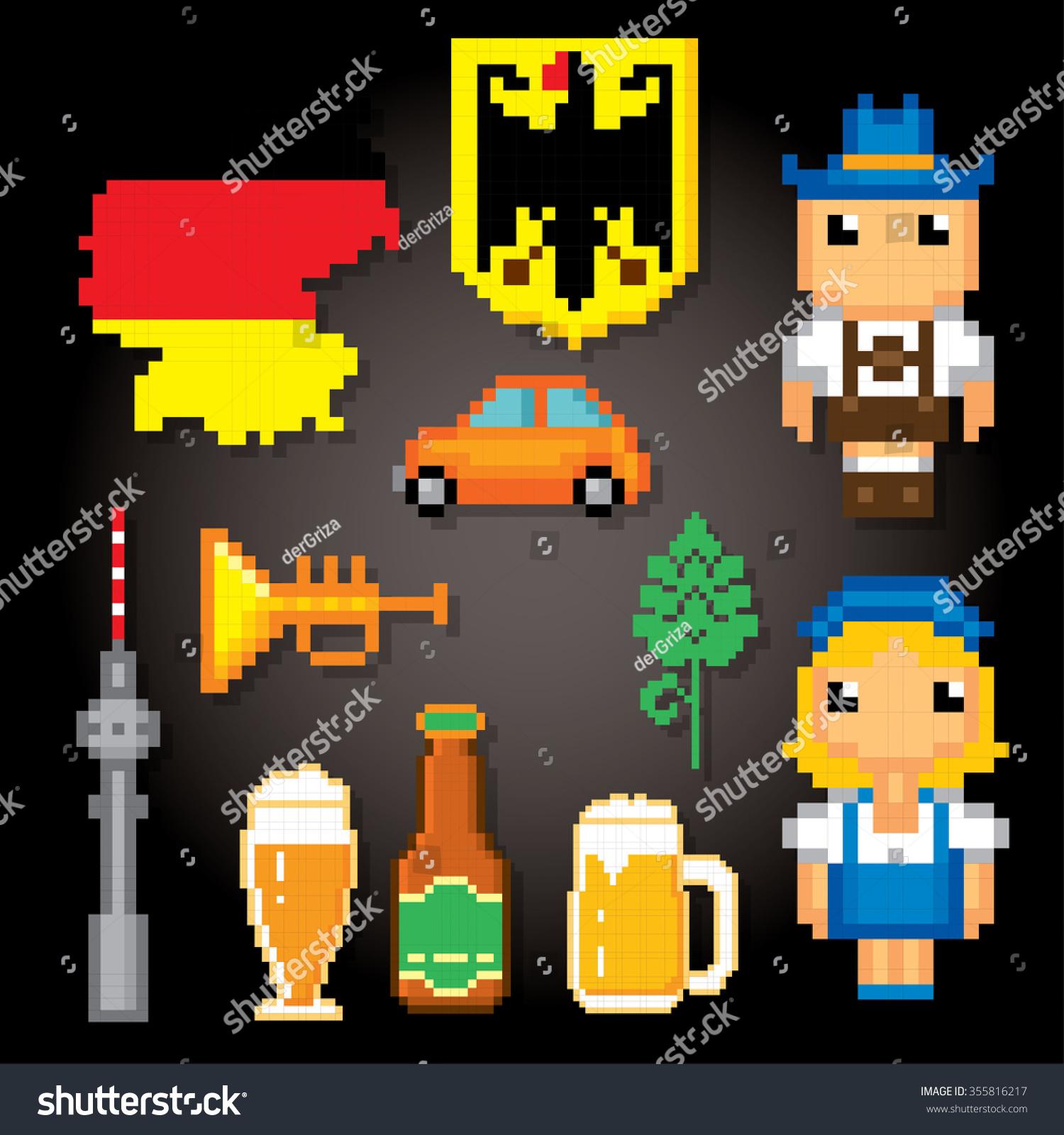German Culture Symbols Icons Set Pixel Stock Vector Royalty Free