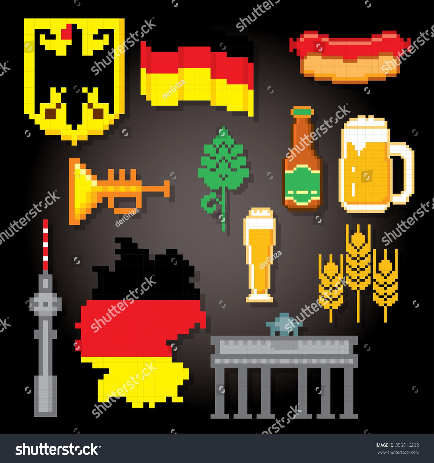 German Culture Symbols Icons Set Pixel Stock Vector 355816232