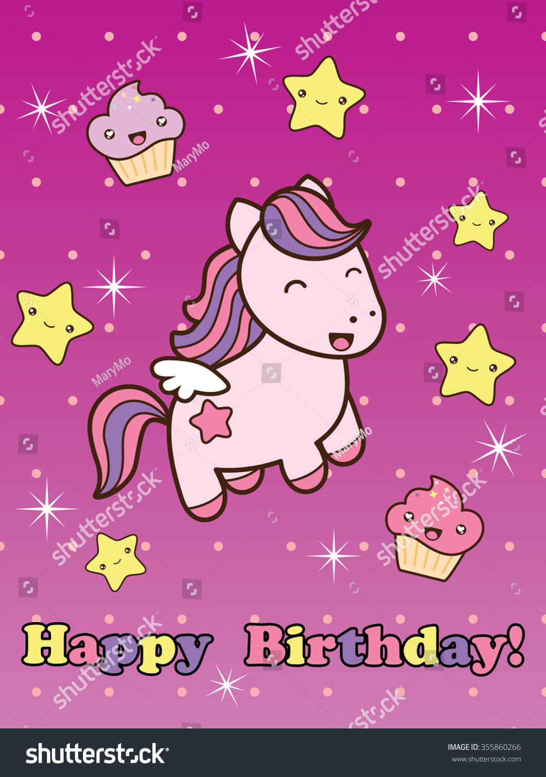 Happy Birthday Card With Cute Smiling Cartoon Horse Raster Illustration Childish Background