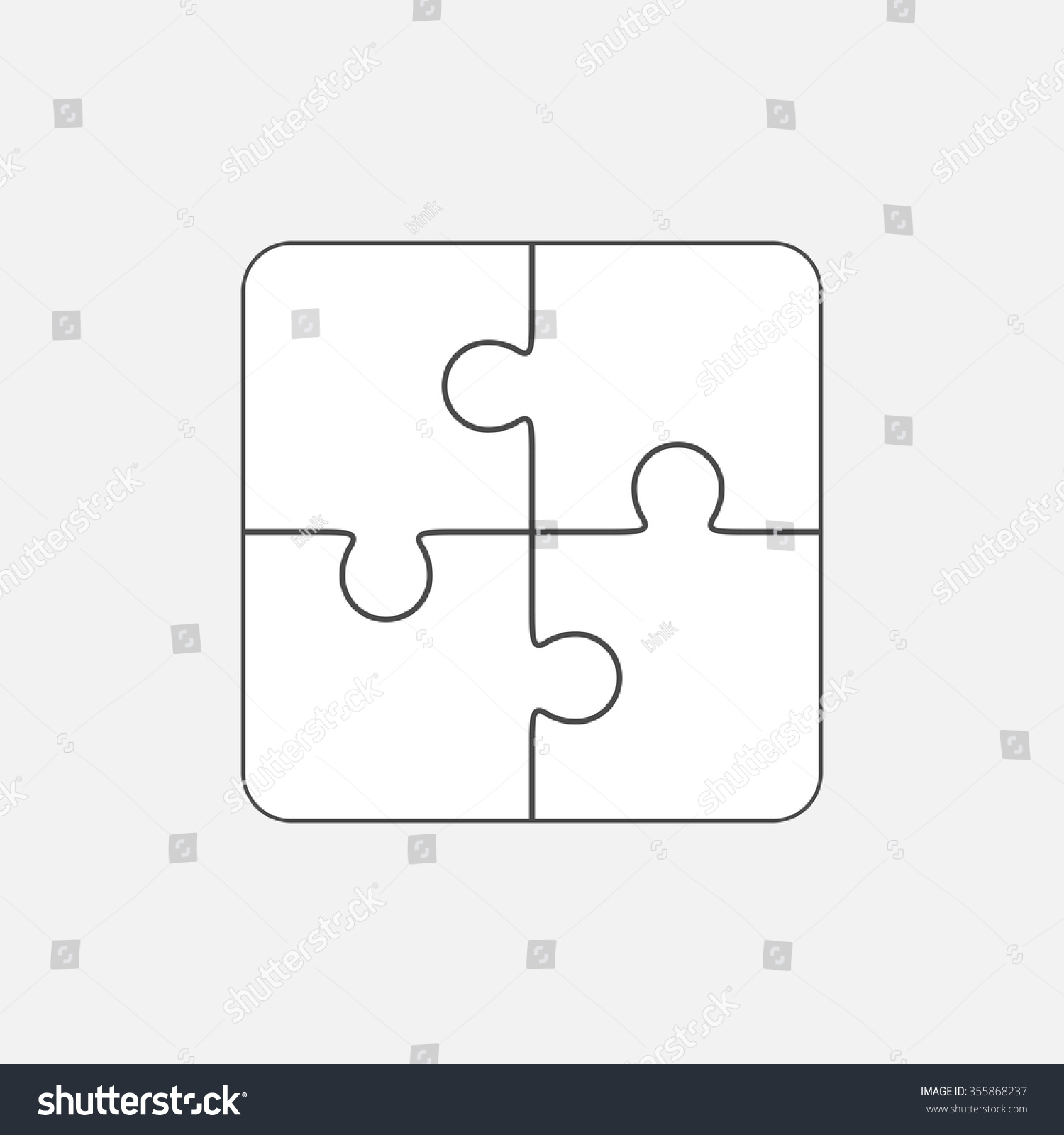 Jigsaw Puzzle Vector Blank Simple Template 2x2 Four Pieces