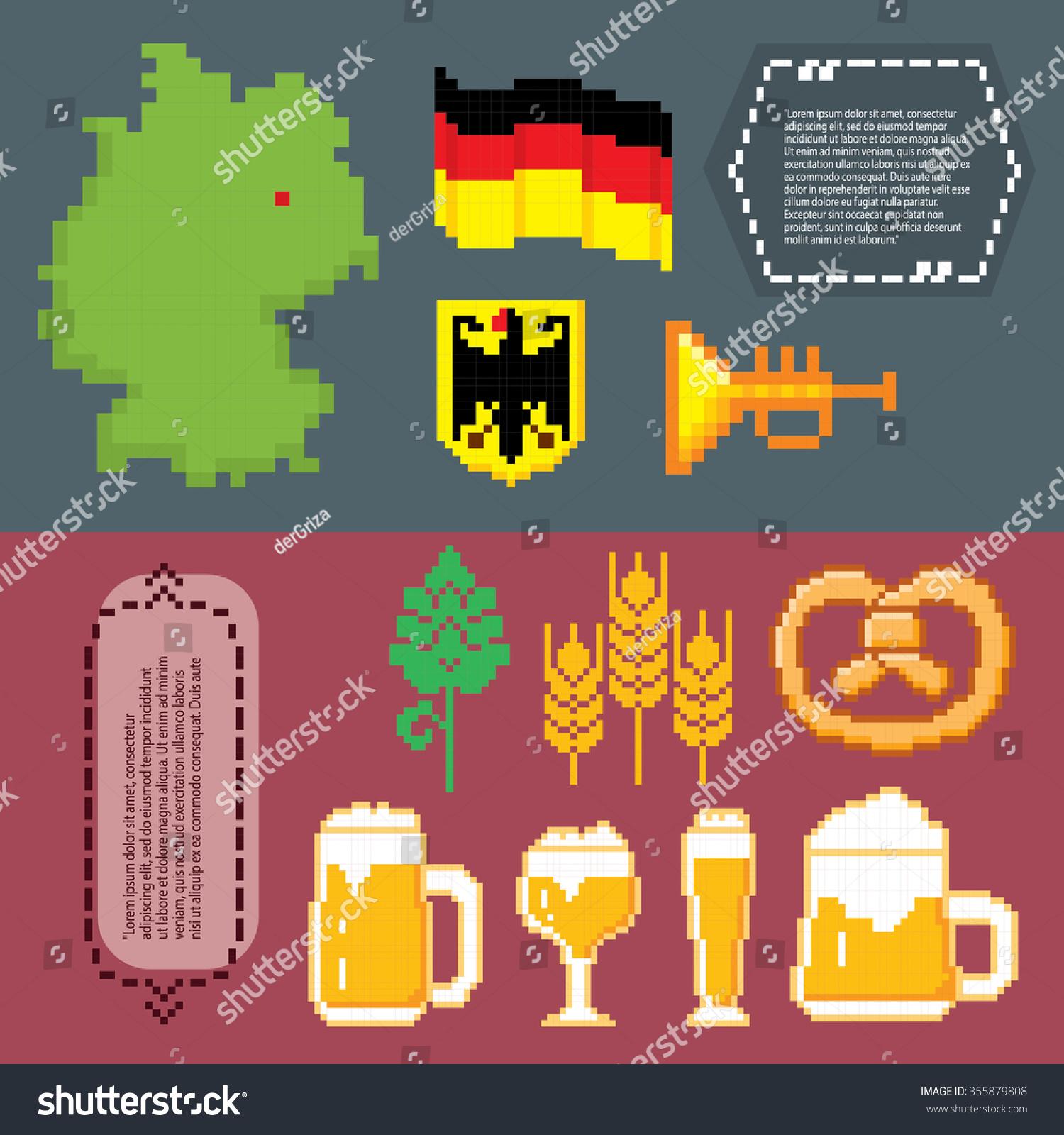 German Culture Symbols Banners Pixel Art Stock Vector Royalty Free