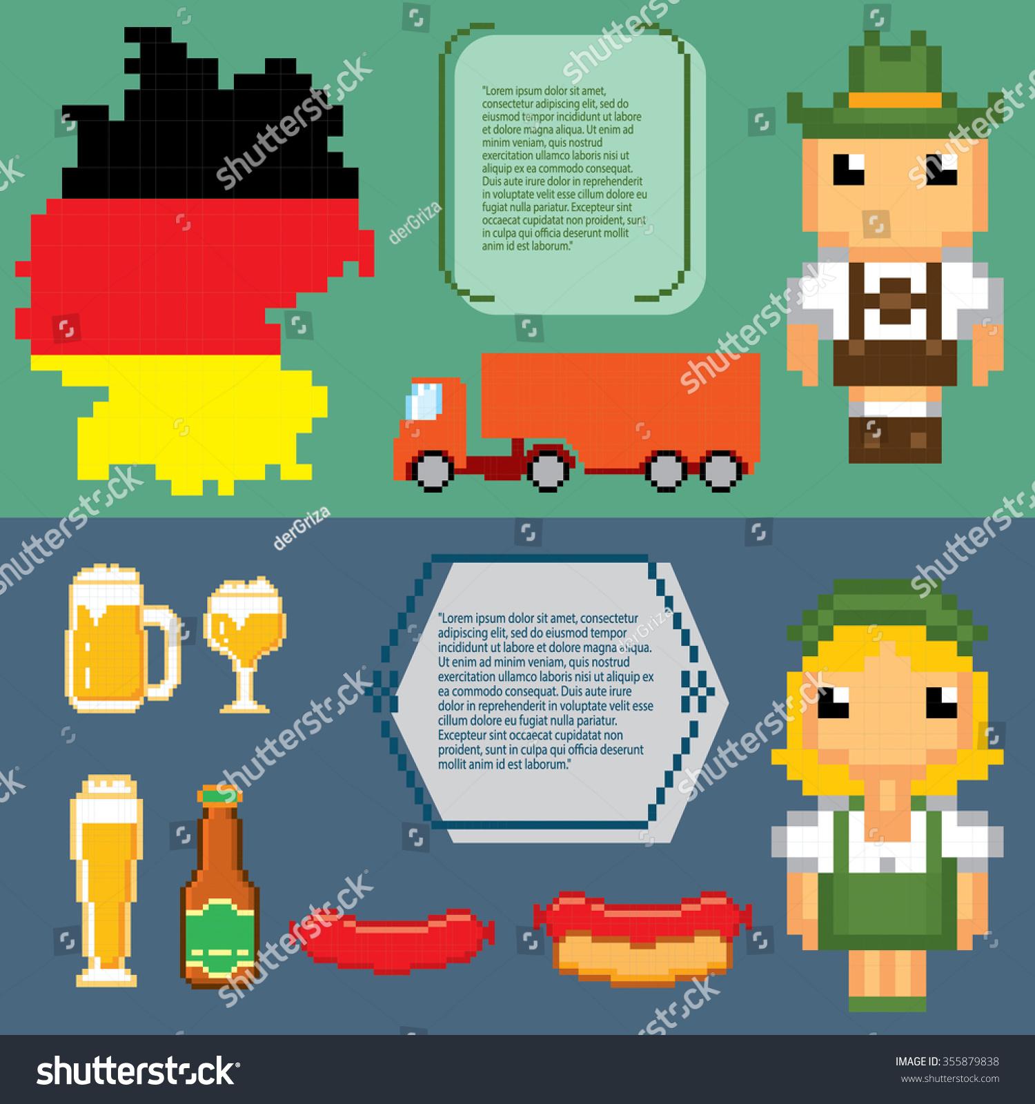German Culture Symbols Banners Pixel Art Stock Vector 355879838