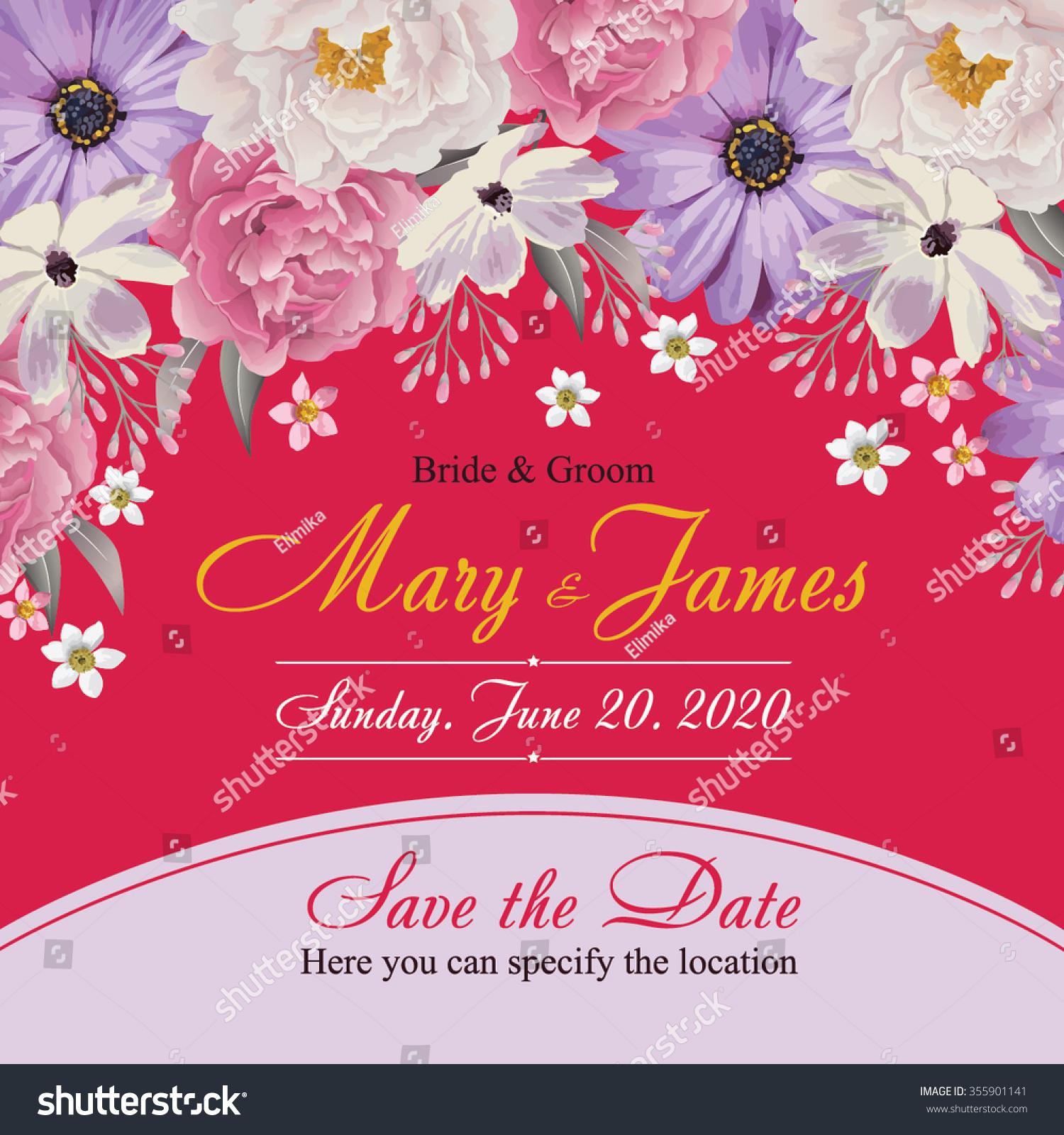 Flower Wedding Invitation Card Save Date Stock Vector 355901141 ...