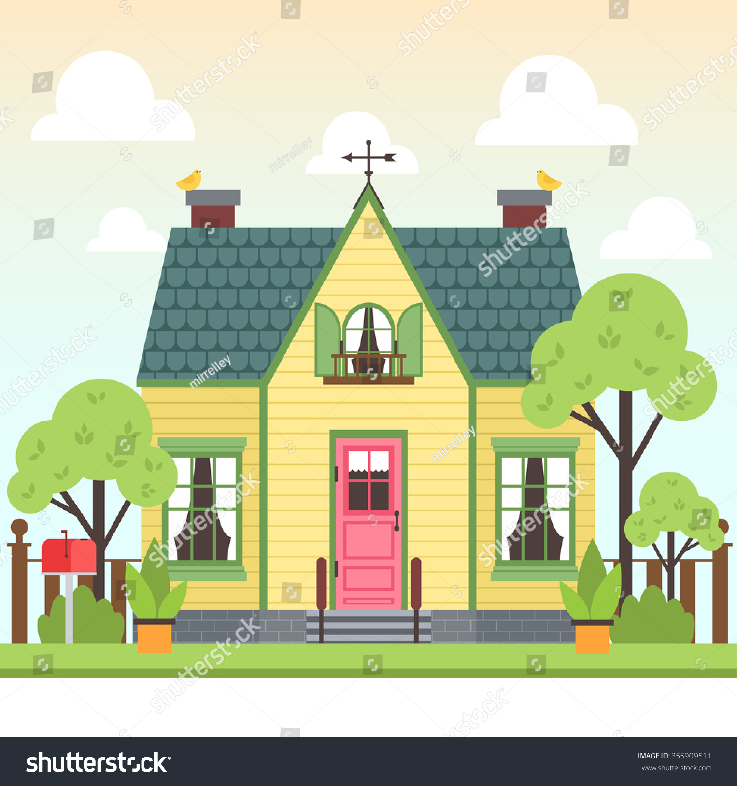 Colorful House illustration cute colorful house trees bird stock vector 355909511