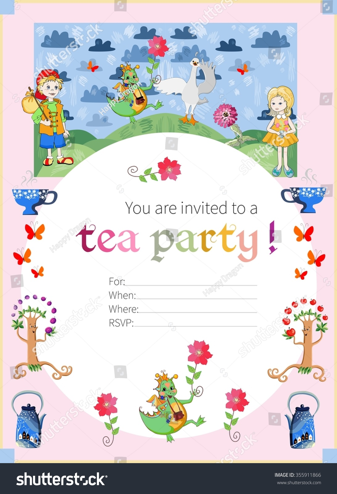 Tea Party Invitation Kids Cute Illustration Vector 355911866 – Fairy Tea Party Invitations