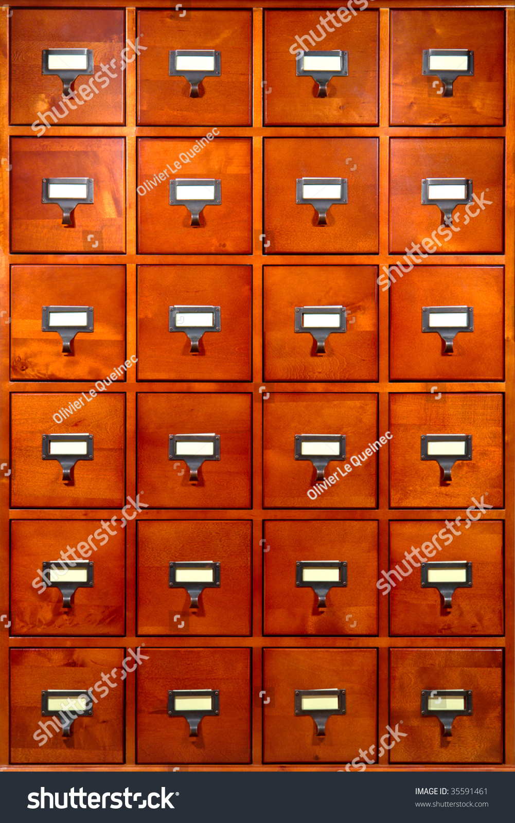 Old Fashioned Library Card Filing Storage Stock Photo