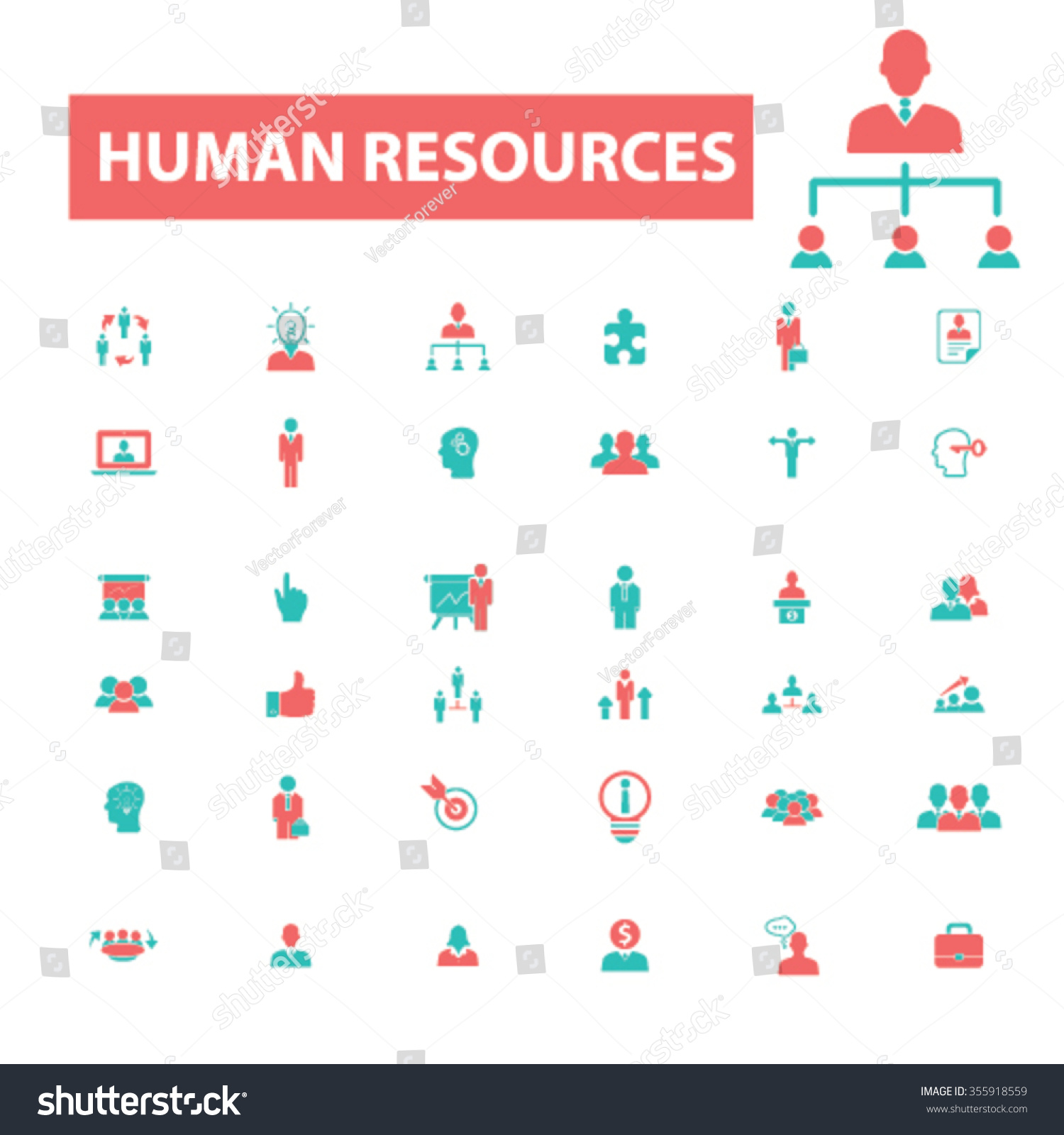 human resources organization businessman management icons