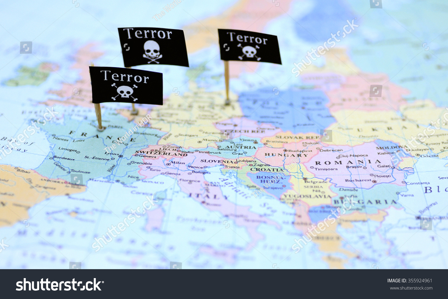 Three Terror Warning Flags Over France Stock Photo - Germany map view
