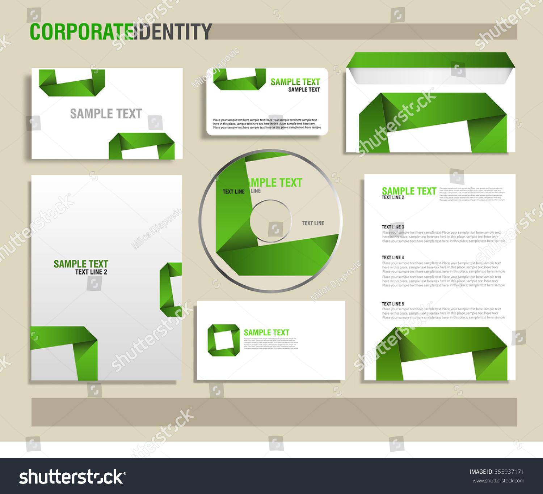 Corporate Identity Green Vector Template Letterhead Vector – Sample Gift Card Envelope Template