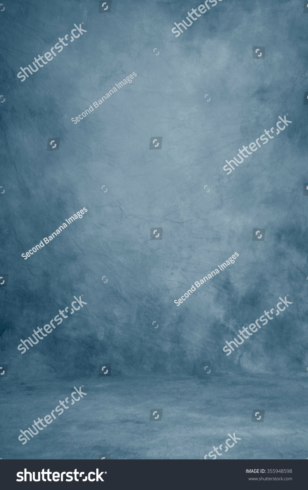 Painted canvas or muslin fabric cloth studio backdrop or background, suitable for use with portraits, products and concepts. Romantic strokes of blue shades. #355948598