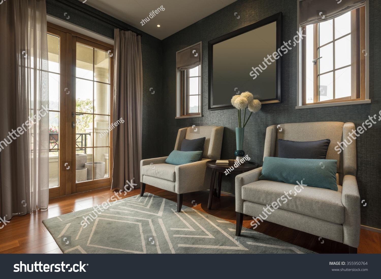 decoration furniture living room comfortable sofa stock photo 355950764 shutterstock. Black Bedroom Furniture Sets. Home Design Ideas