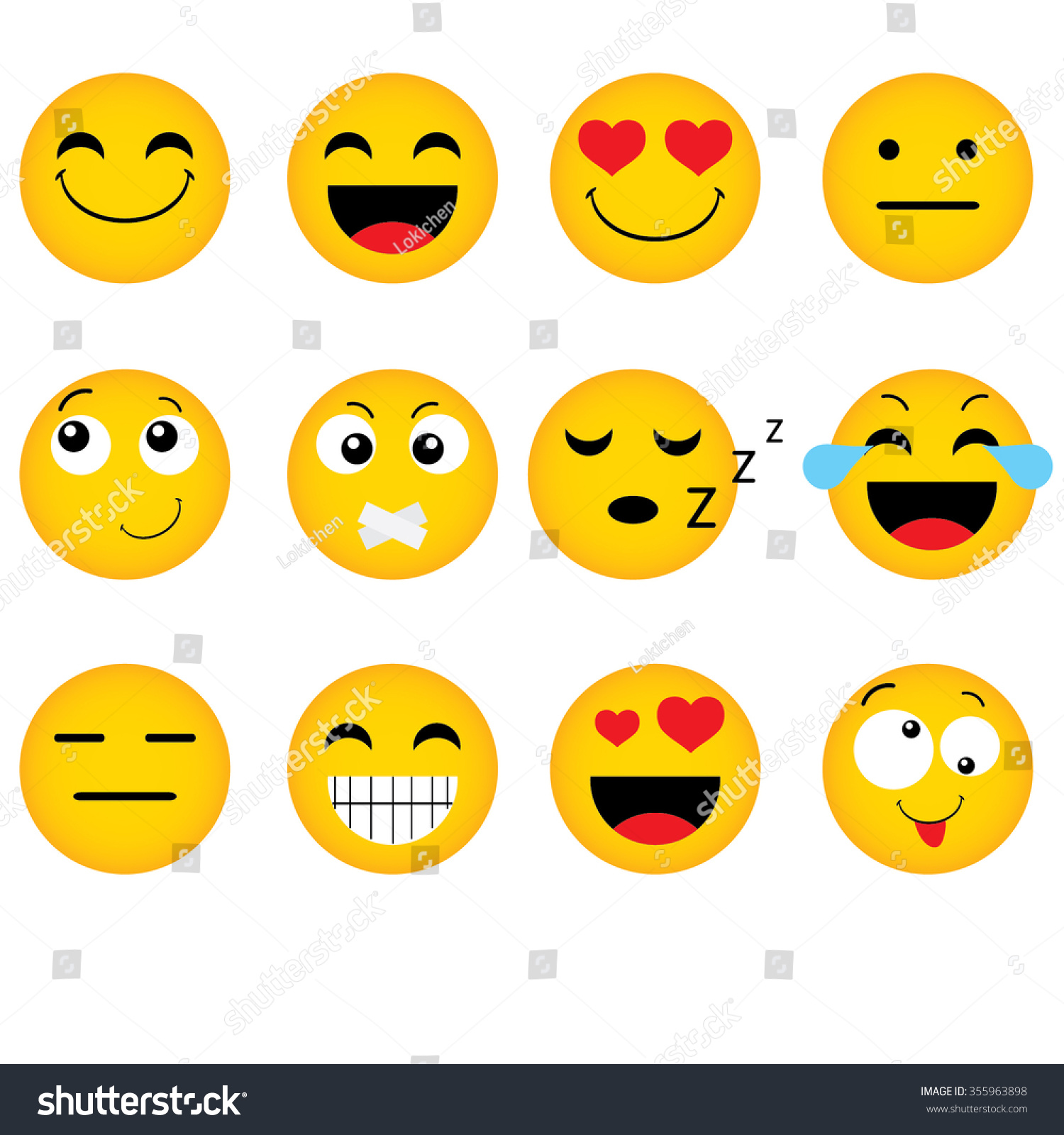 Lotus Notes Emoticons Emoticon Vector Style Smile Face Icons Stock Vector 355963898