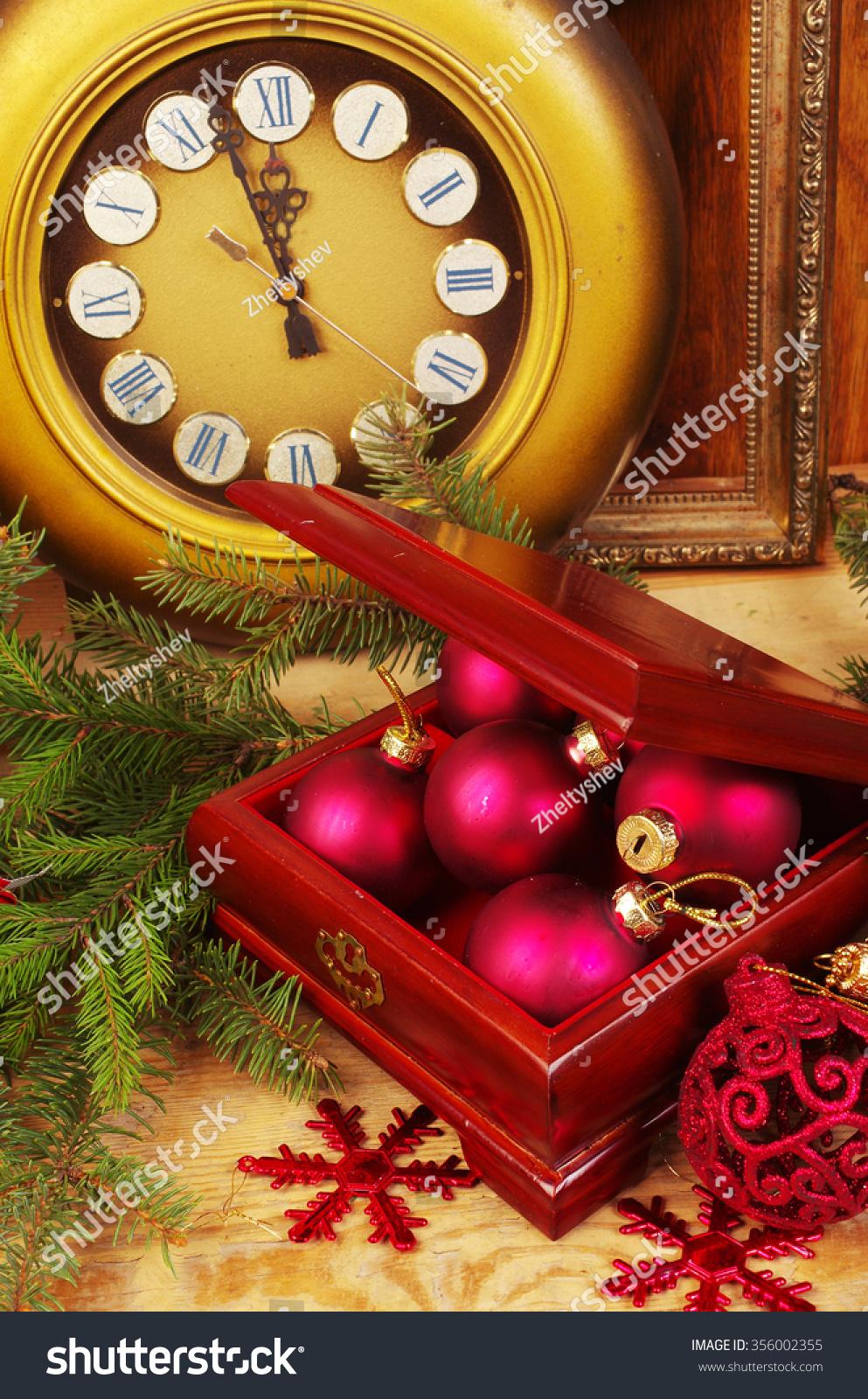 Old Clock Box Christmas Decorations Stock Photo (Royalty Free ...