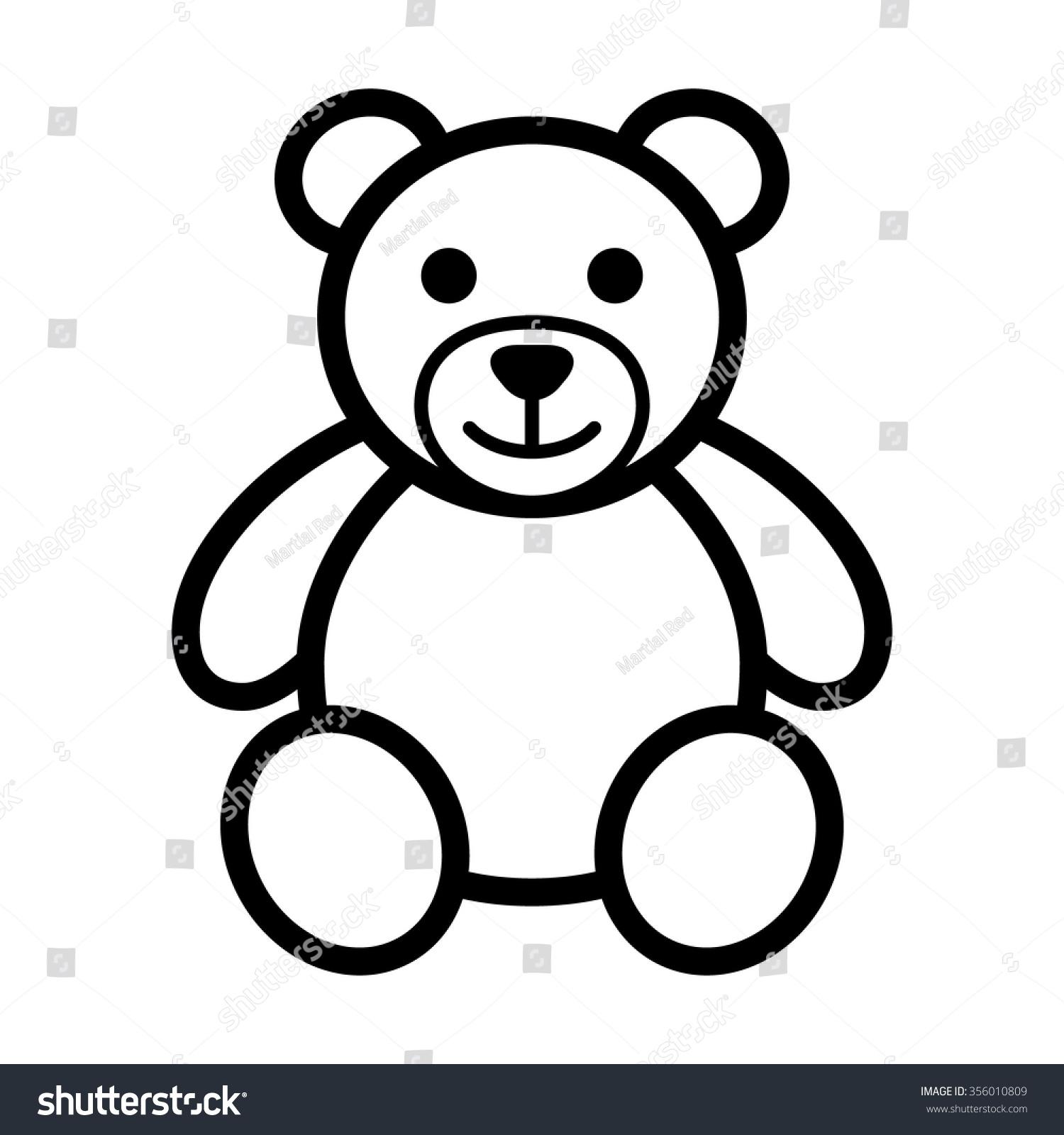 Line Art App : Teddy bear plush toy line art stock vector