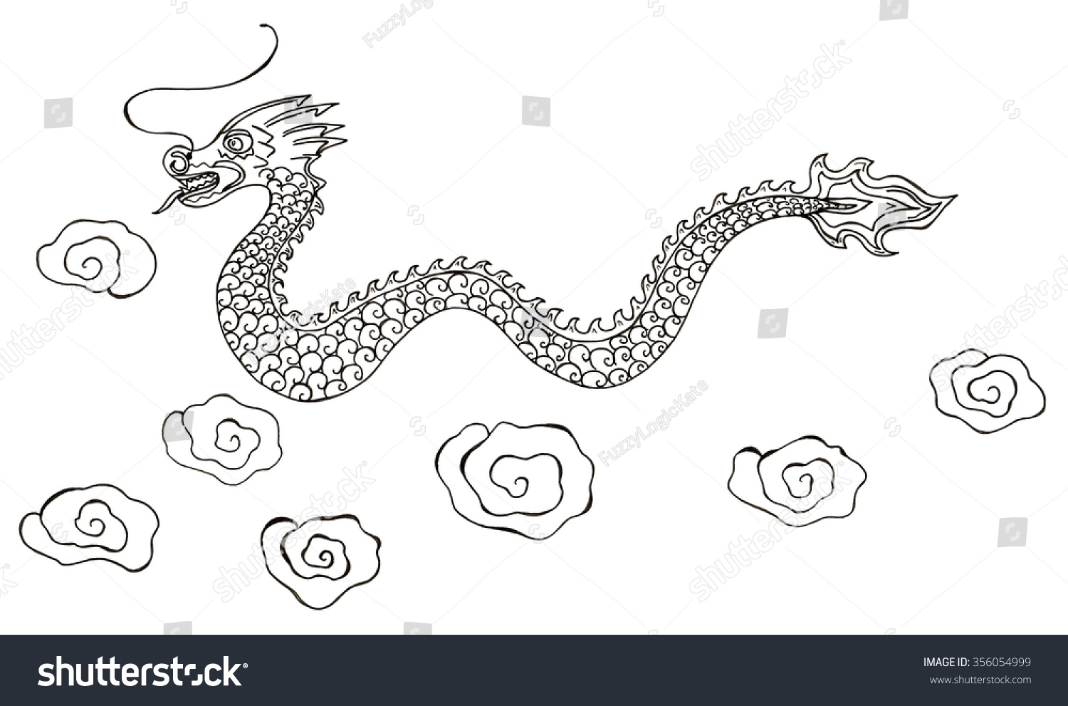 sketch chinese dragon clouds isolated stock illustration 356054999
