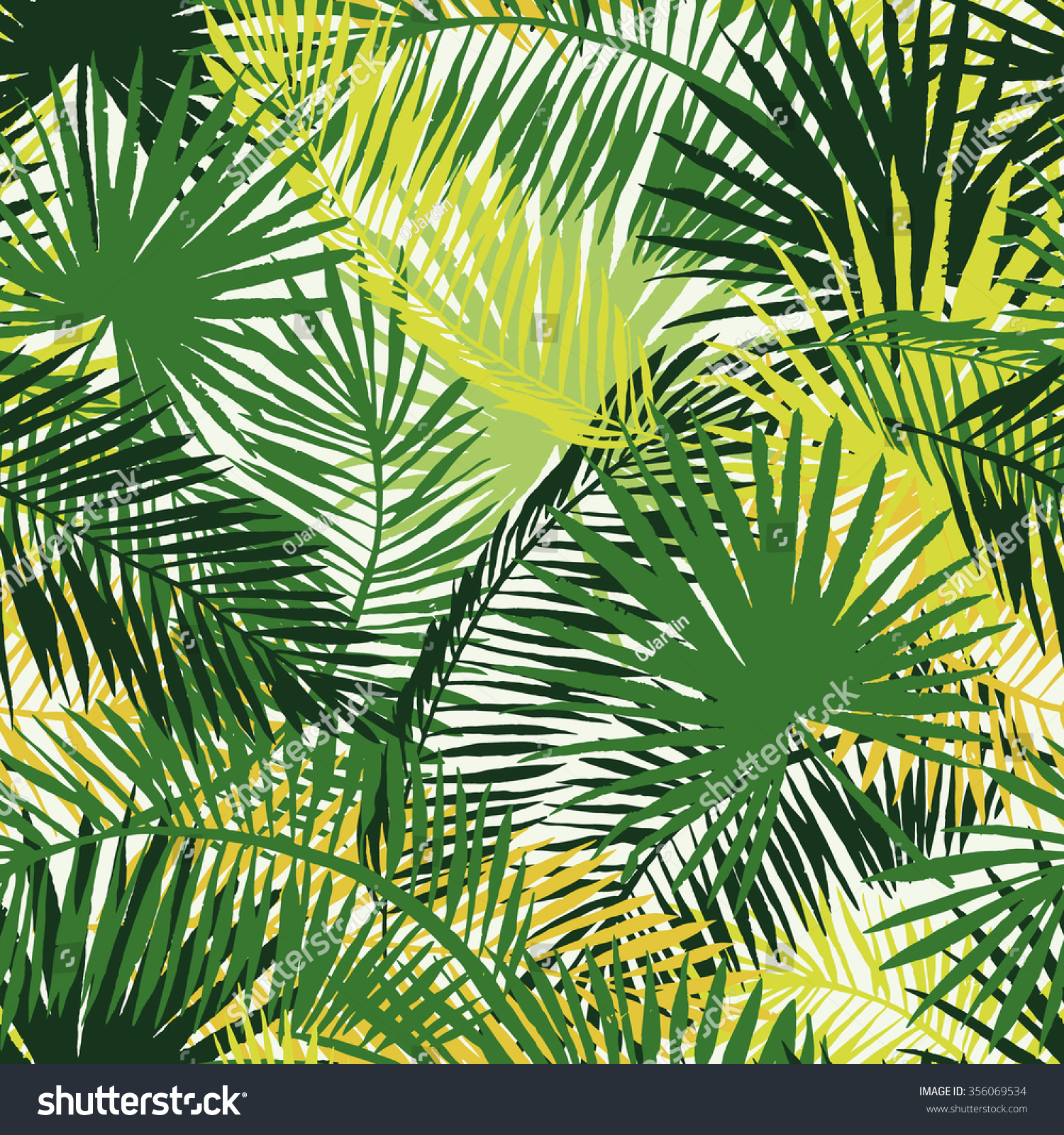 Palm Leaves Silhouettes Background Vector Seamless Stock Vector ...