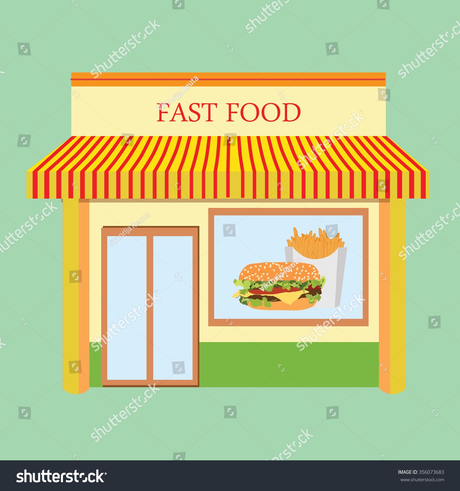 Vector illustration fast food restaurant facade building design. Fast food  cafe