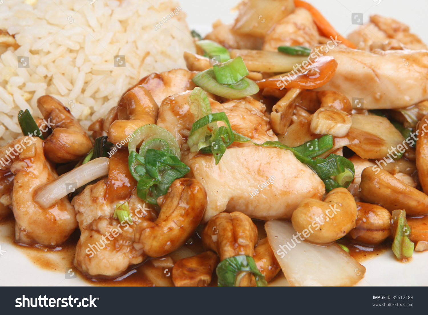 Asian chicken fried rice with cashews