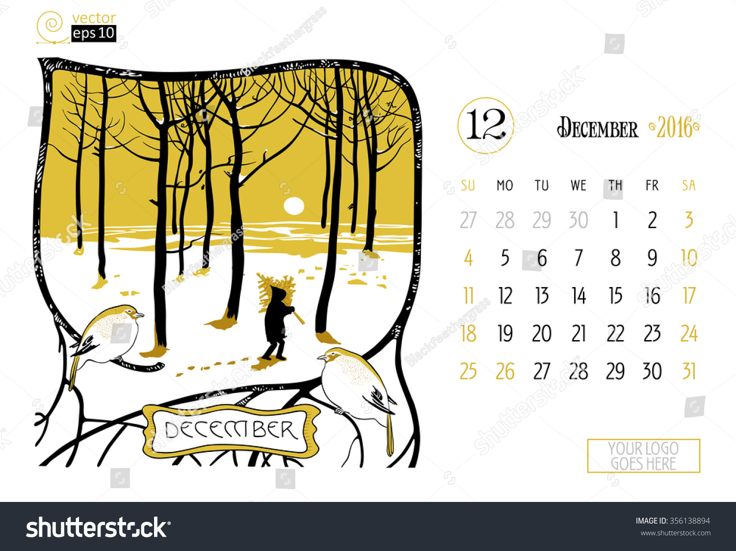 December Calendar Art : Vector concept calendar page on december stock vector royalty
