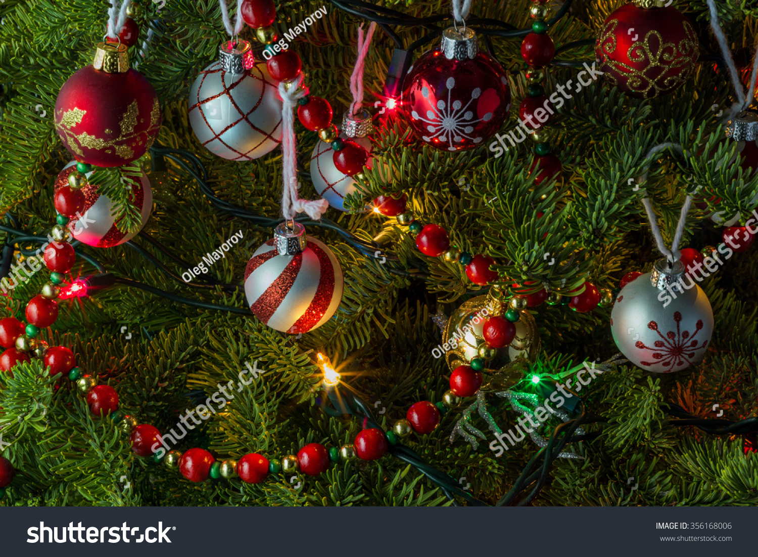 Christmas tree ball other decorations stock photo