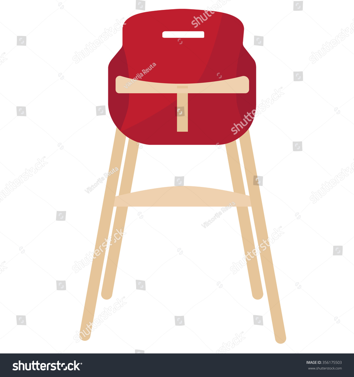 Vector Illustration Red Baby Chair Feeding Stock Vector
