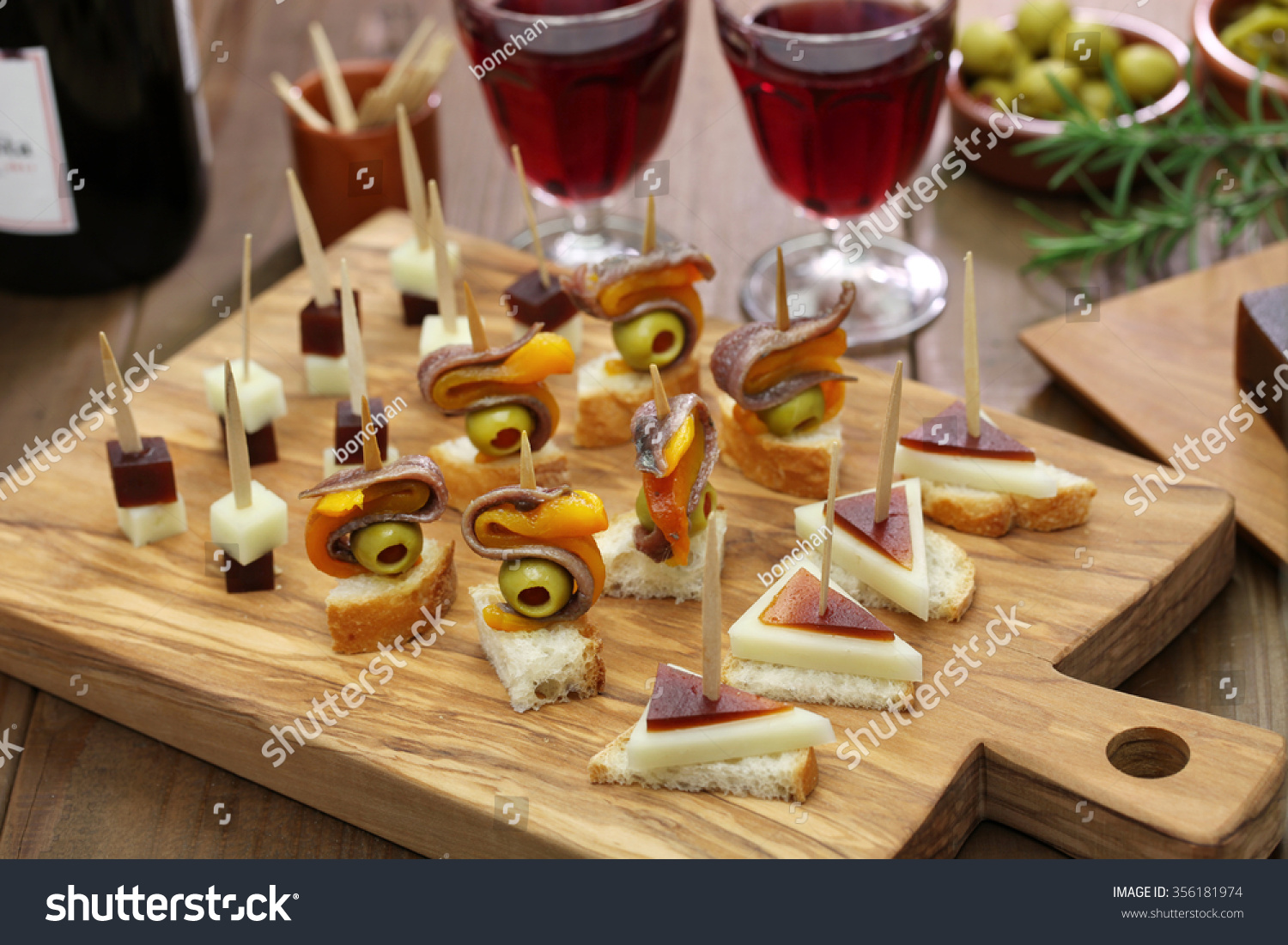 pinchos tapas spanish canapes party finger stock photo
