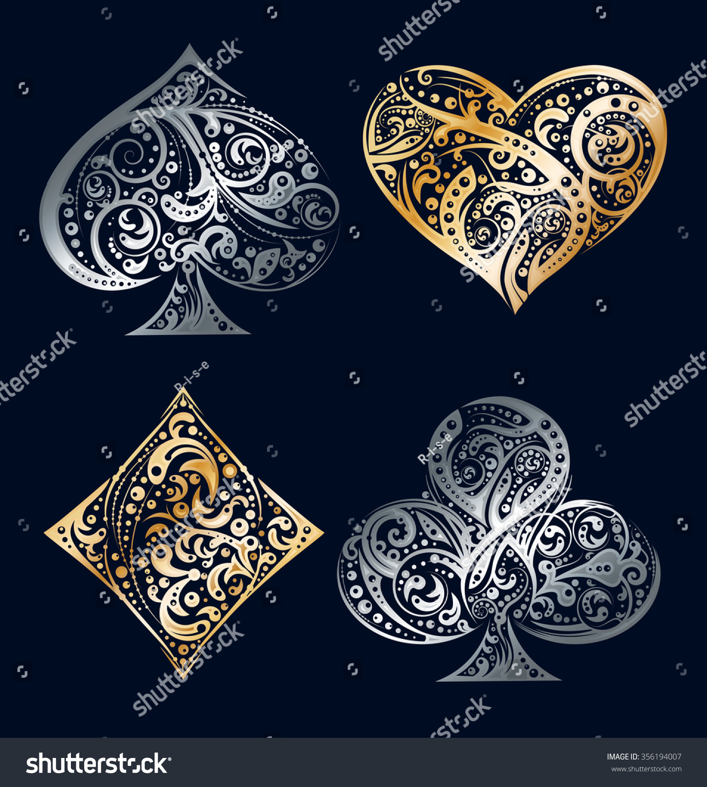 Set of four vector playing card suit symbols made by floral elements Vintage stylized illustration in silver and golden colors on black background Works well as print computer icon logo