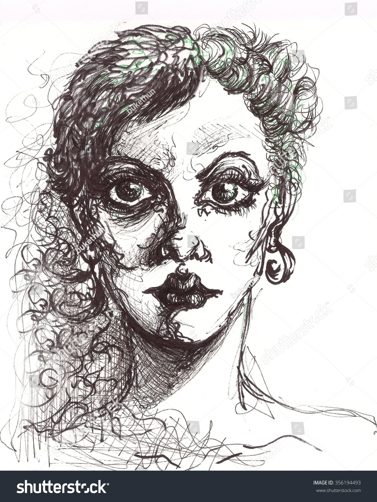 Pencil sketch portrait of an angry girl with drawing effects and thin black lines serious