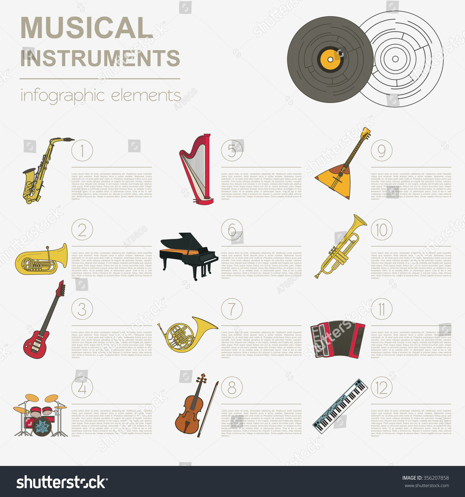 Worksheet Types Of Instruments musical instruments graphic template all types stock vector of infographic illustration