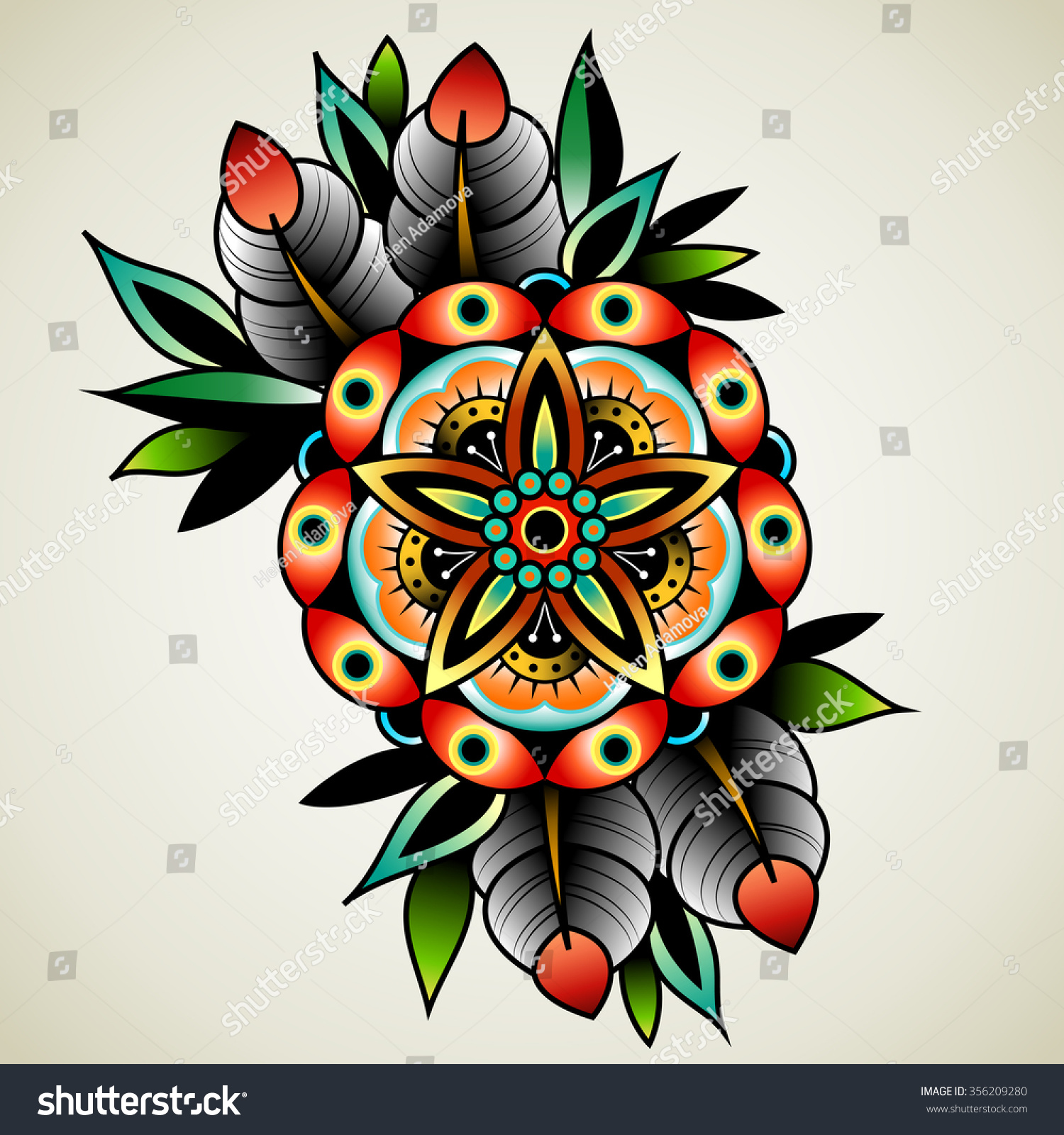 old school tattoo art flowers design stock vector 356209280 shutterstock. Black Bedroom Furniture Sets. Home Design Ideas