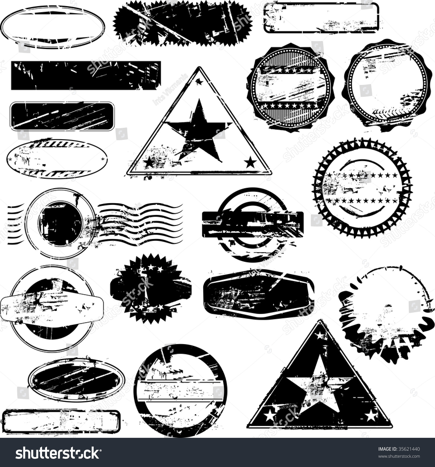 Collection Of Empty Rubber Stamps For Your Text. See Other ...
