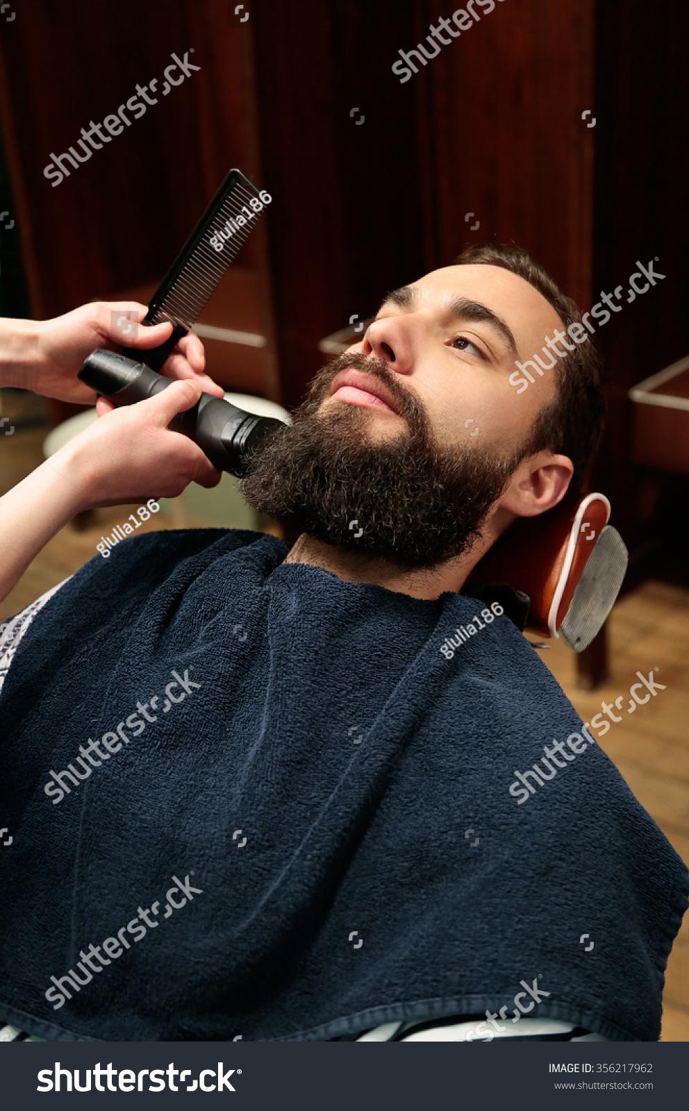 man hairdresser shaving his beard stock photo 356217962 shutterstock. Black Bedroom Furniture Sets. Home Design Ideas