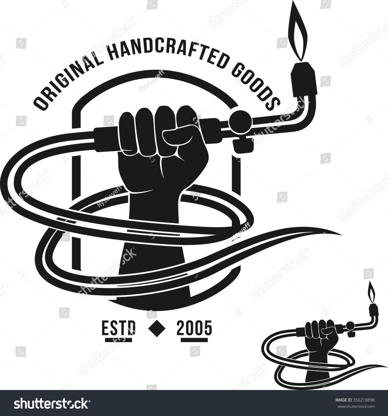 Veltor Logo Handcrafted Goods Welding Torch Stock Vector ...