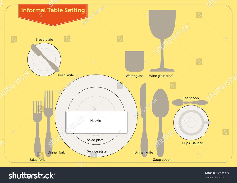 Informal Table Setting Stock Vector HD (Royalty Free) 356220833 ...