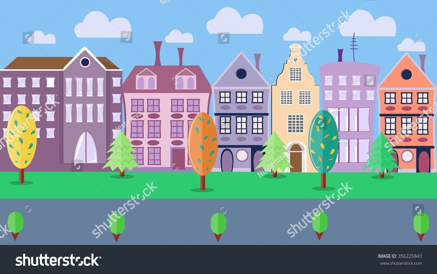City street colorful housestrees shrubs road stock for Colorful tree house