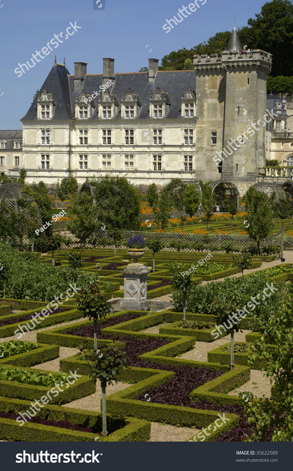 France, French formal garden at the castle of Villandry | EZ Canvas