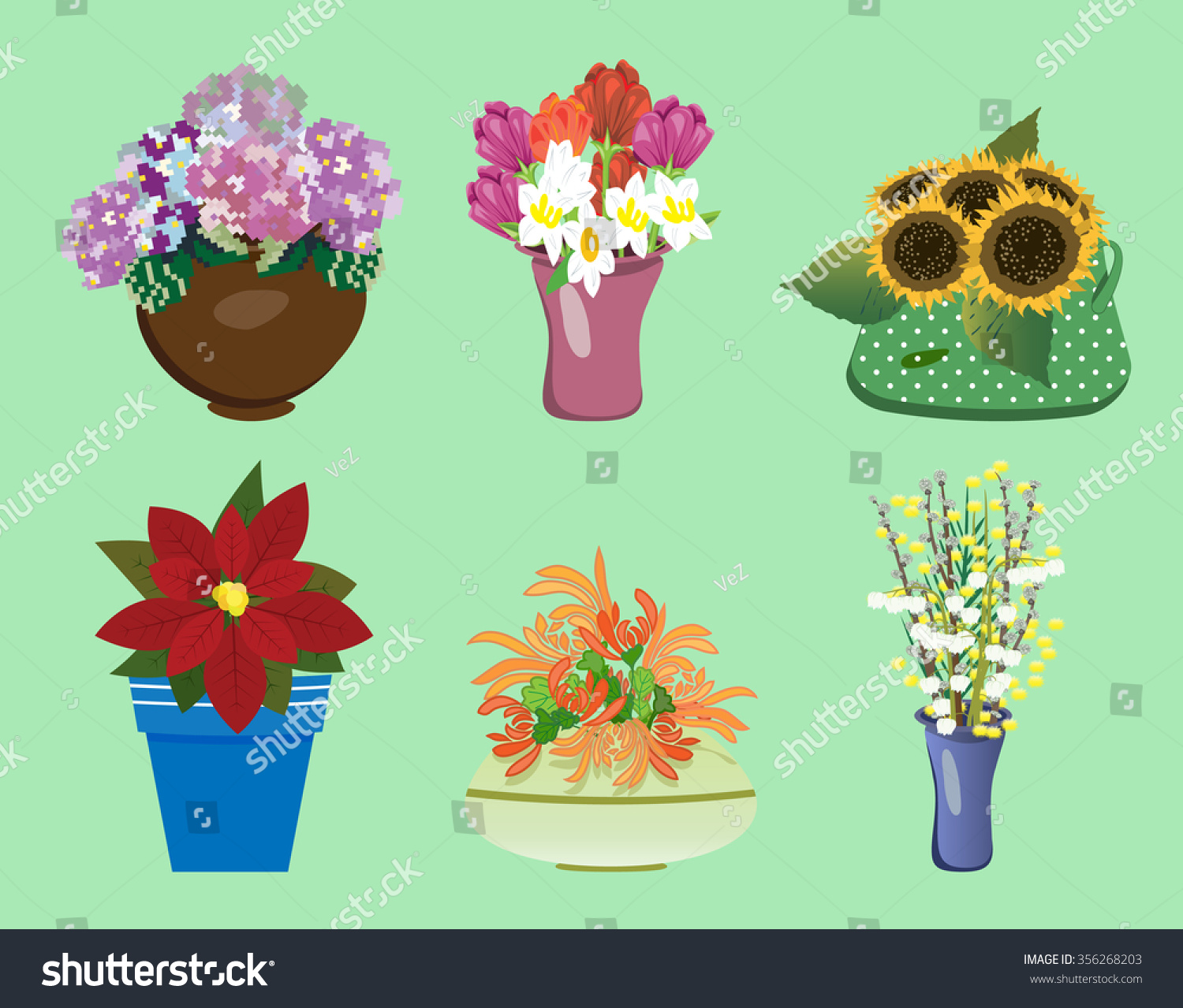 Six Different Flowers Bouquets Vases Stock Vector 356268203
